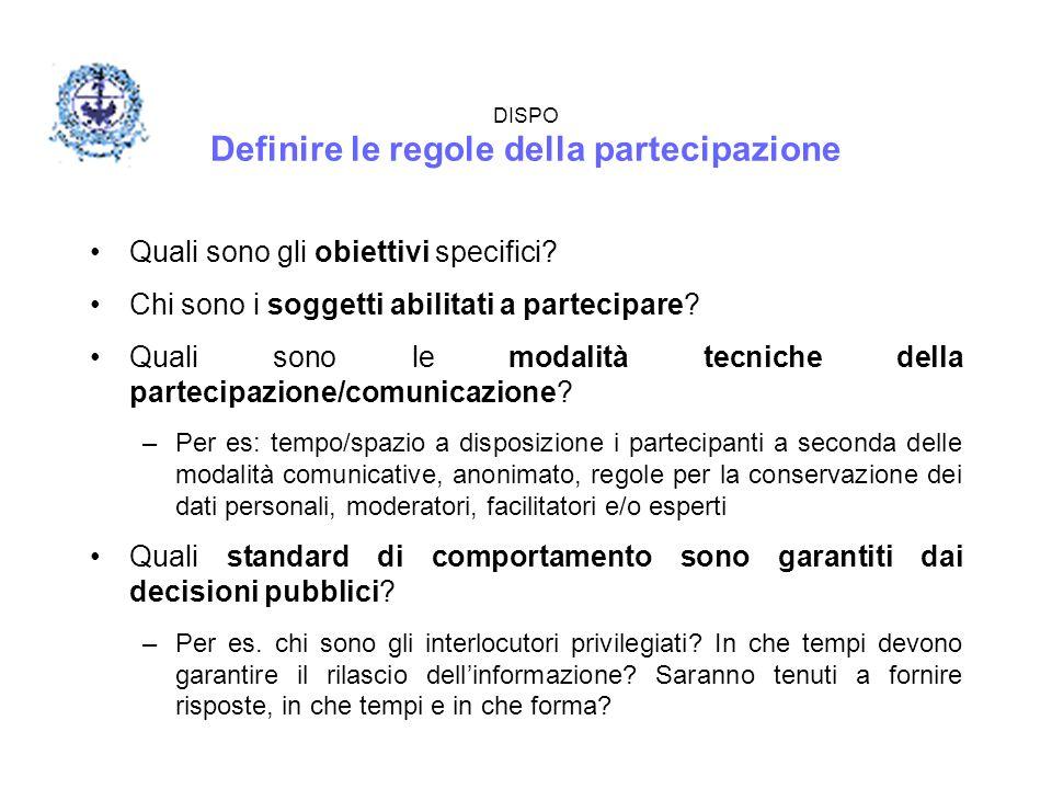 DISPO Definire le regole della partecipazione Quali sono gli obiettivi specifici? Chi sono i soggetti abilitati a partecipare? Quali sono le modalità