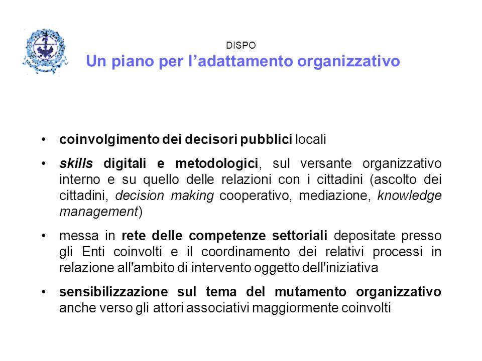 DISPO Un piano per l'adattamento organizzativo coinvolgimento dei decisori pubblici locali skills digitali e metodologici, sul versante organizzativo