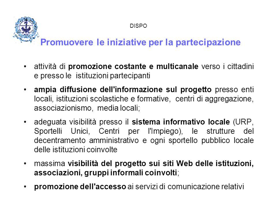 DISPO Promuovere le iniziative per la partecipazione attività di promozione costante e multicanale verso i cittadini e presso le istituzioni partecipa