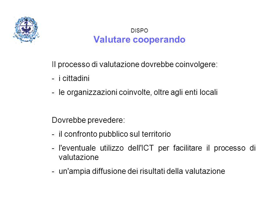 DISPO Valutare cooperando Il processo di valutazione dovrebbe coinvolgere: -i cittadini -le organizzazioni coinvolte, oltre agli enti locali Dovrebbe