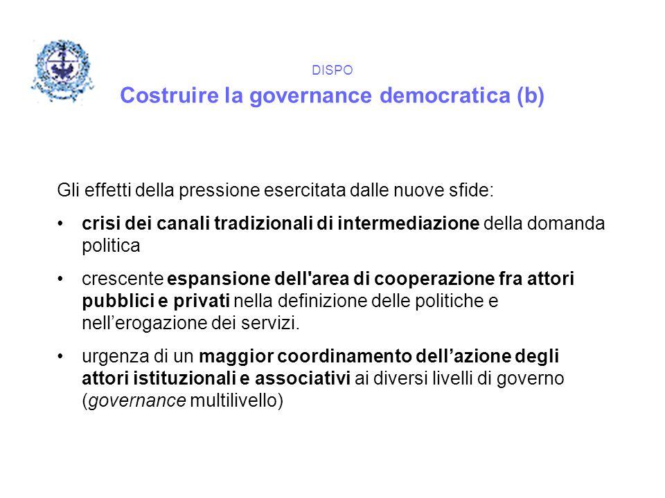 DISPO Costruire la governance democratica (b) Gli effetti della pressione esercitata dalle nuove sfide: crisi dei canali tradizionali di intermediazio