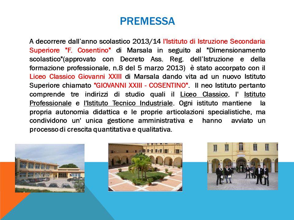 PREMESSA A decorrere dall'anno scolastico 2013/14 l'Istituto di Istruzione Secondaria Superiore