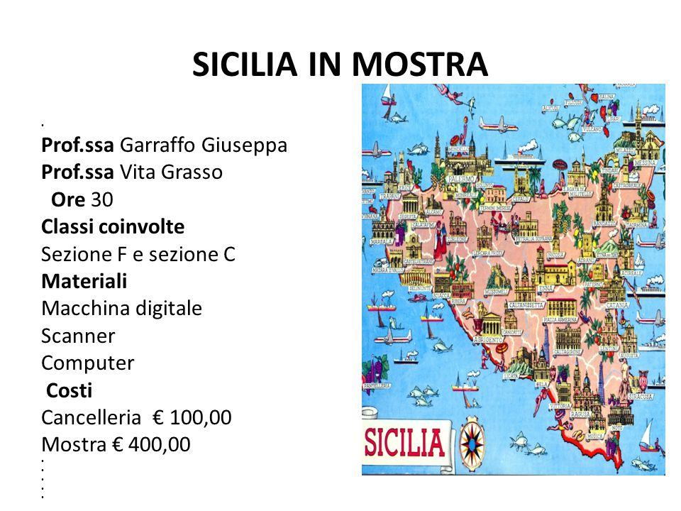 SICILIA IN MOSTRA Prof.ssa Garraffo Giuseppa Prof.ssa Vita Grasso Ore 30 Classi coinvolte Sezione F e sezione C Materiali Macchina digitale Scanner Co