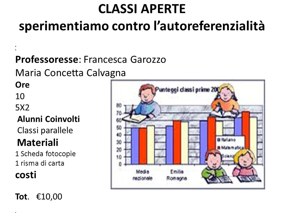 CLASSI APERTE sperimentiamo contro l'autoreferenzialità Professoresse: Francesca Garozzo Maria Concetta Calvagna Ore 10 5X2 Alunni Coinvolti Classi pa