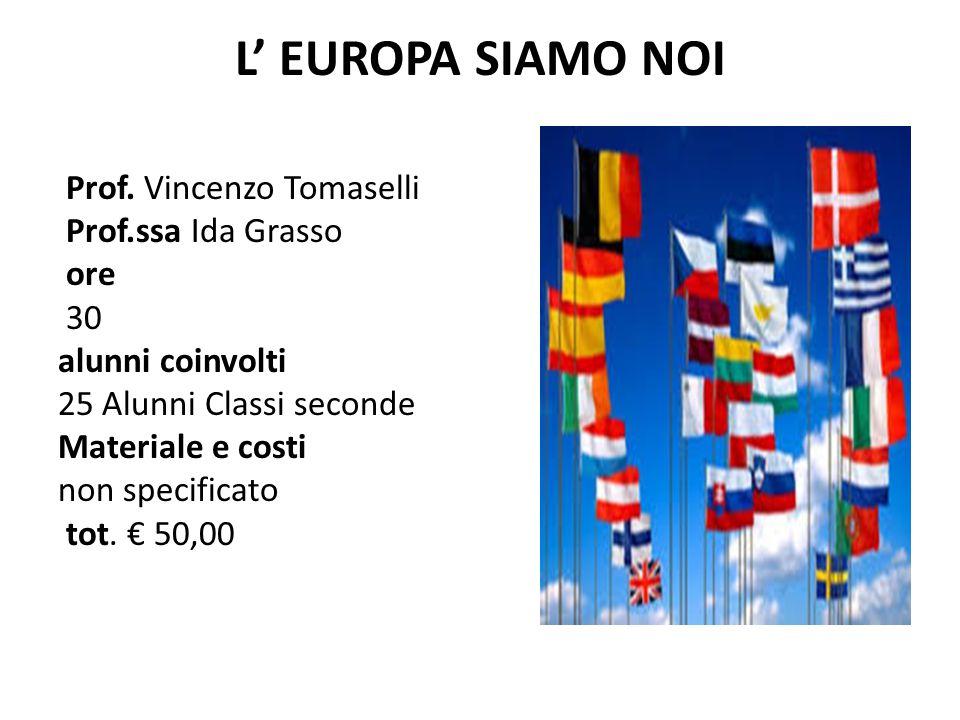 L' EUROPA SIAMO NOI Prof. Vincenzo Tomaselli Prof.ssa Ida Grasso ore 30 alunni coinvolti 25 Alunni Classi seconde Materiale e costi non specificato to