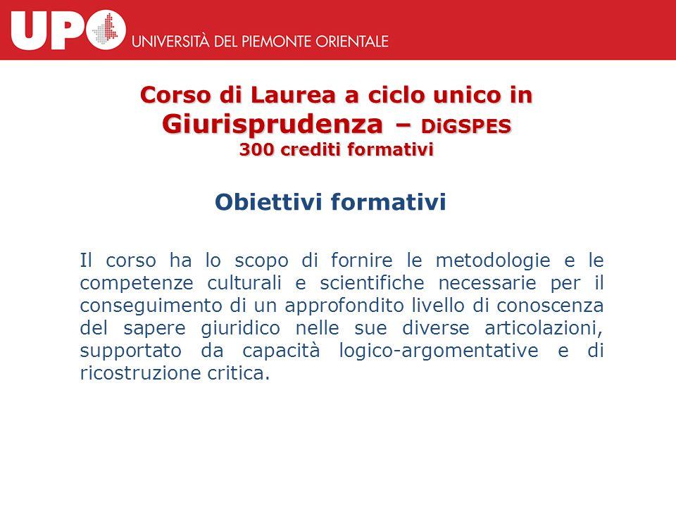 Obiettivi formativi Corso di Laurea a ciclo unico in Giurisprudenza – DiGSPES 300 crediti formativi Il corso ha lo scopo di fornire le metodologie e l