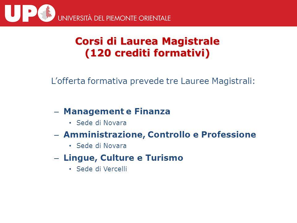 Corsi di Laurea Magistrale (120 crediti formativi) L'offerta formativa prevede tre Lauree Magistrali: – Management e Finanza Sede di Novara – Amminist