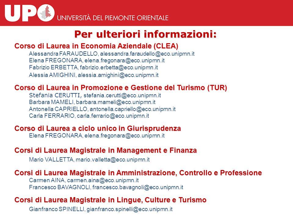 Per ulteriori informazioni: Corso di Laurea in Economia Aziendale (CLEA) Alessandra FARAUDELLO, alessandra.faraudello@eco.unipmn.it Elena FREGONARA, e