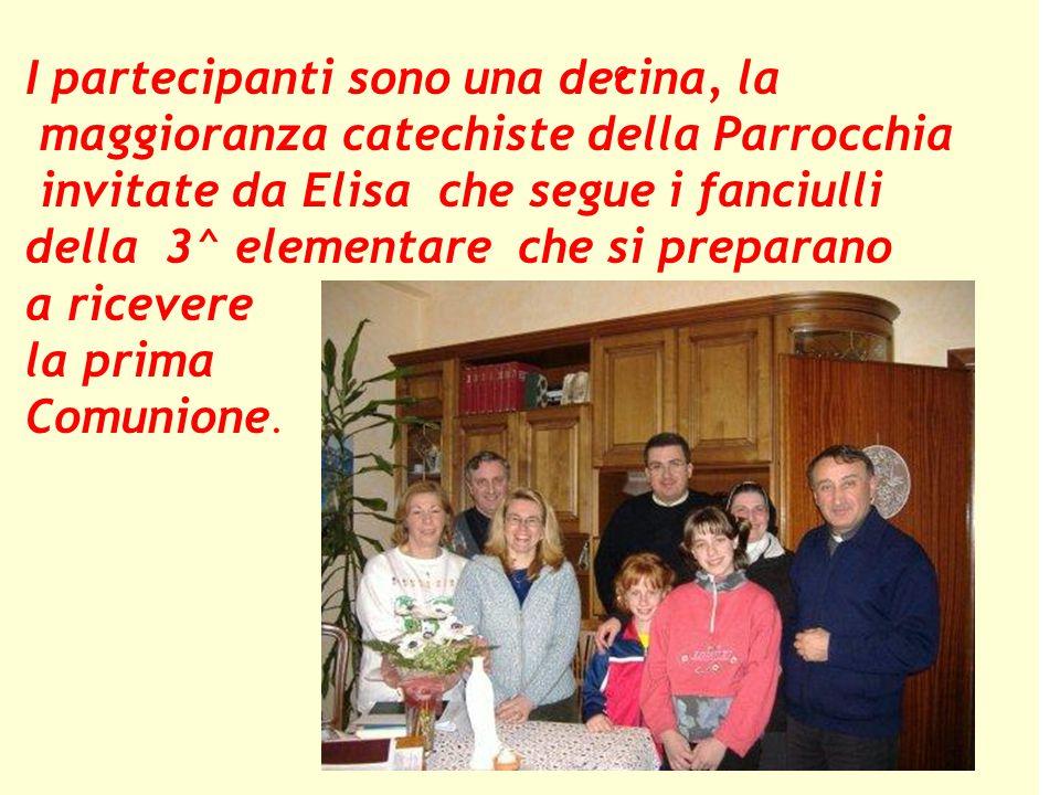 I partecipanti sono una decina, la maggioranza catechiste della Parrocchia invitate da Elisa che segue i fanciulli della 3^ elementare che si preparano a ricevere la prima Comunione.