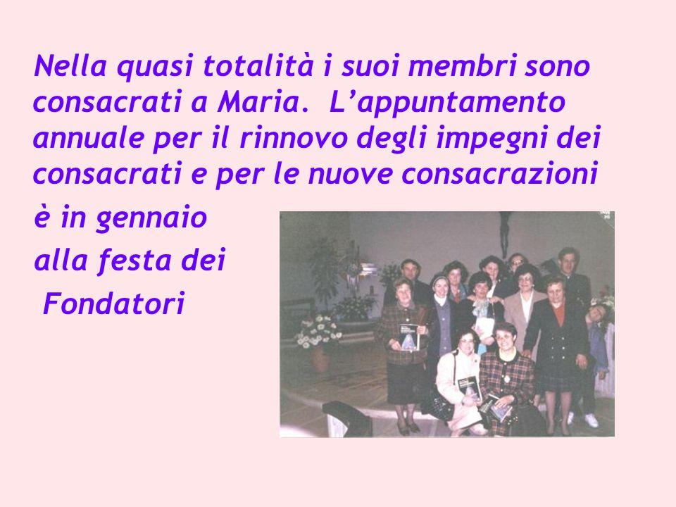 Nella quasi totalità i suoi membri sono consacrati a Maria.