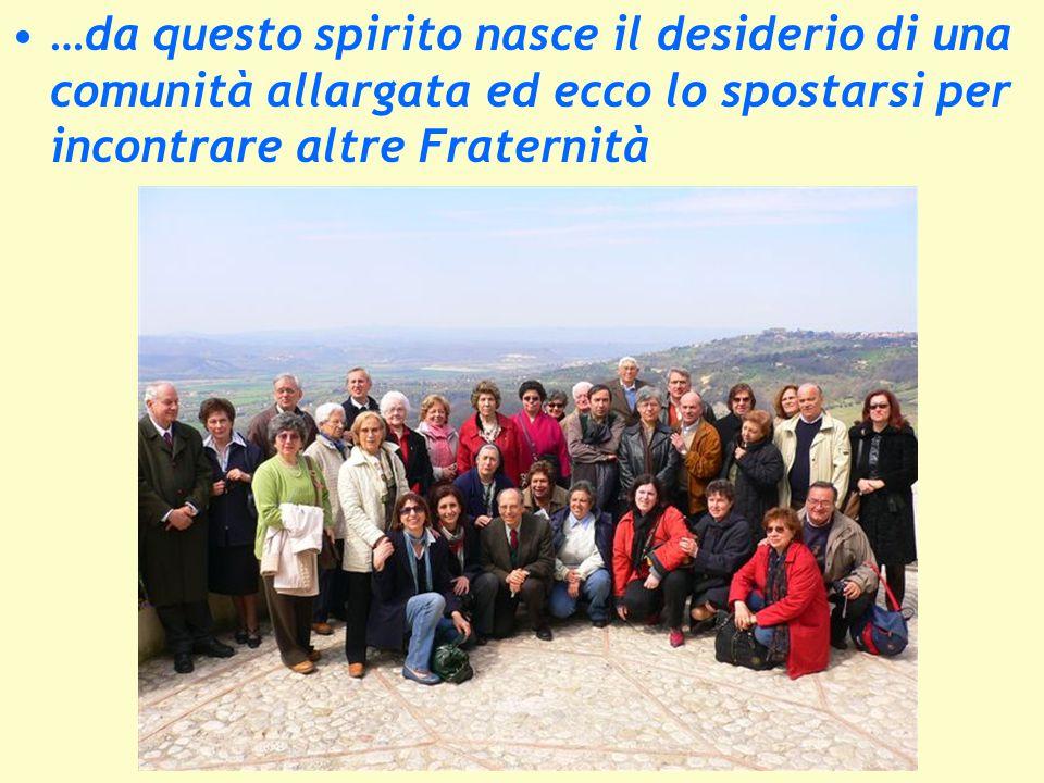 …da questo spirito nasce il desiderio di una comunità allargata ed ecco lo spostarsi per incontrare altre Fraternità