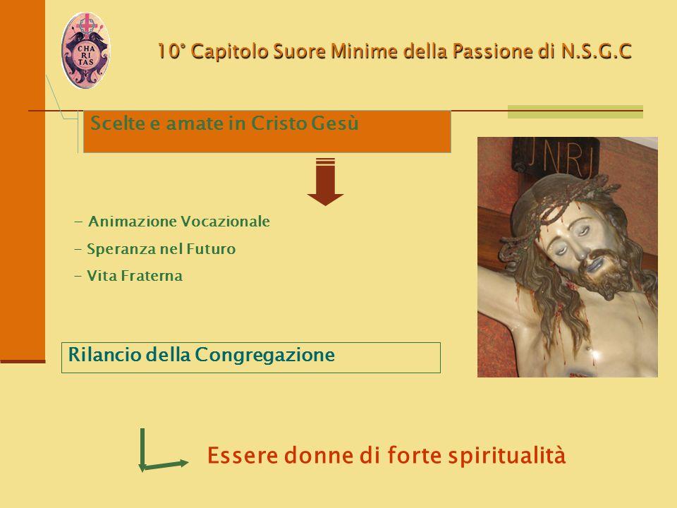 10° Capitolo Suore Minime della Passione di N.S.G.C - Animazione Vocazionale - Speranza nel Futuro - Vita Fraterna Rilancio della Congregazione Essere