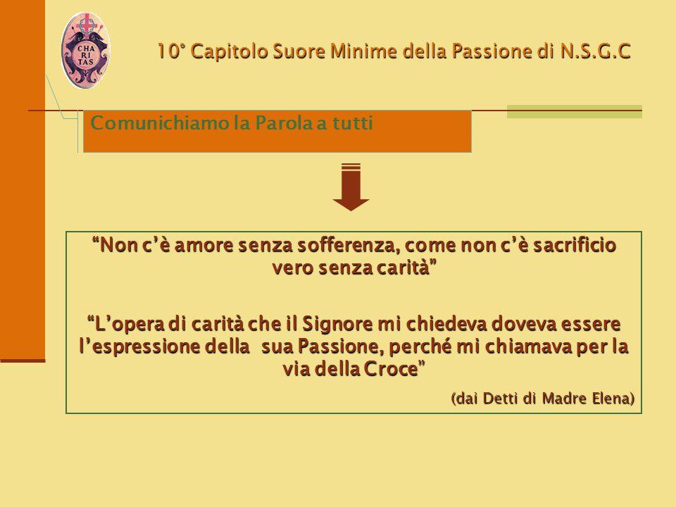 """10° Capitolo Suore Minime della Passione di N.S.G.C """"Non c'è amore senza sofferenza, come non c'è sacrificio vero senza carità"""" """"L'opera di carità che"""