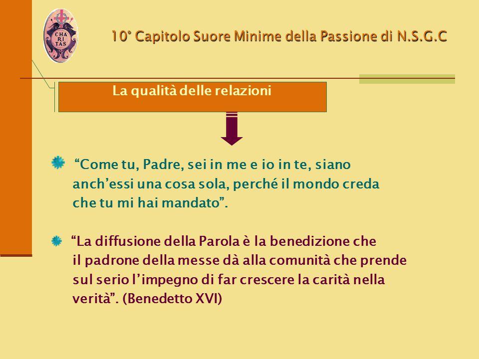"""10° Capitolo Suore Minime della Passione di N.S.G.C La qualità delle relazioni """"Come tu, Padre, sei in me e io in te, siano anch'essi una cosa sola, p"""
