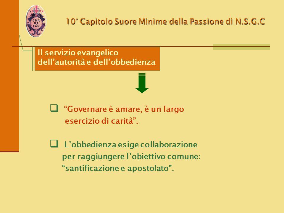 """10° Capitolo Suore Minime della Passione di N.S.G.C  """"Governare è amare, è un largo esercizio di carità"""".  L'obbedienza esige collaborazione per rag"""