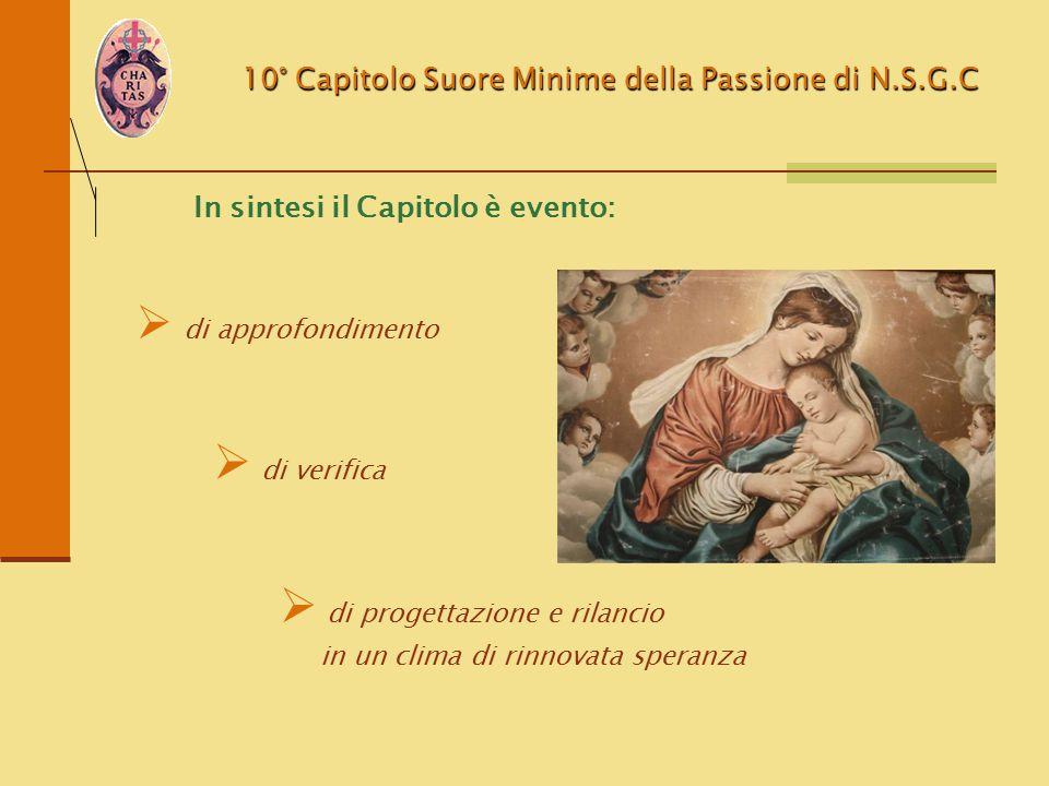 10° Capitolo Suore Minime della Passione di N.S.G.C In sintesi il Capitolo è evento:  di approfondimento  di verifica  di progettazione e rilancio
