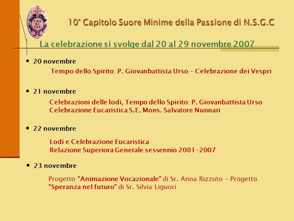 10° Capitolo Suore Minime della Passione di N.S.G.C La celebrazione si svolge dal 20 al 29 novembre 2007 Tempo dello Spirito: P. Giovanbattista Urso -