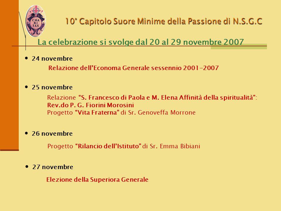 10° Capitolo Suore Minime della Passione di N.S.G.C La celebrazione si svolge dal 20 al 29 novembre 2007 Elezione delle consigliere generali 28 novembre Lettura e firma degli Atti del Capitolo 29 novembre