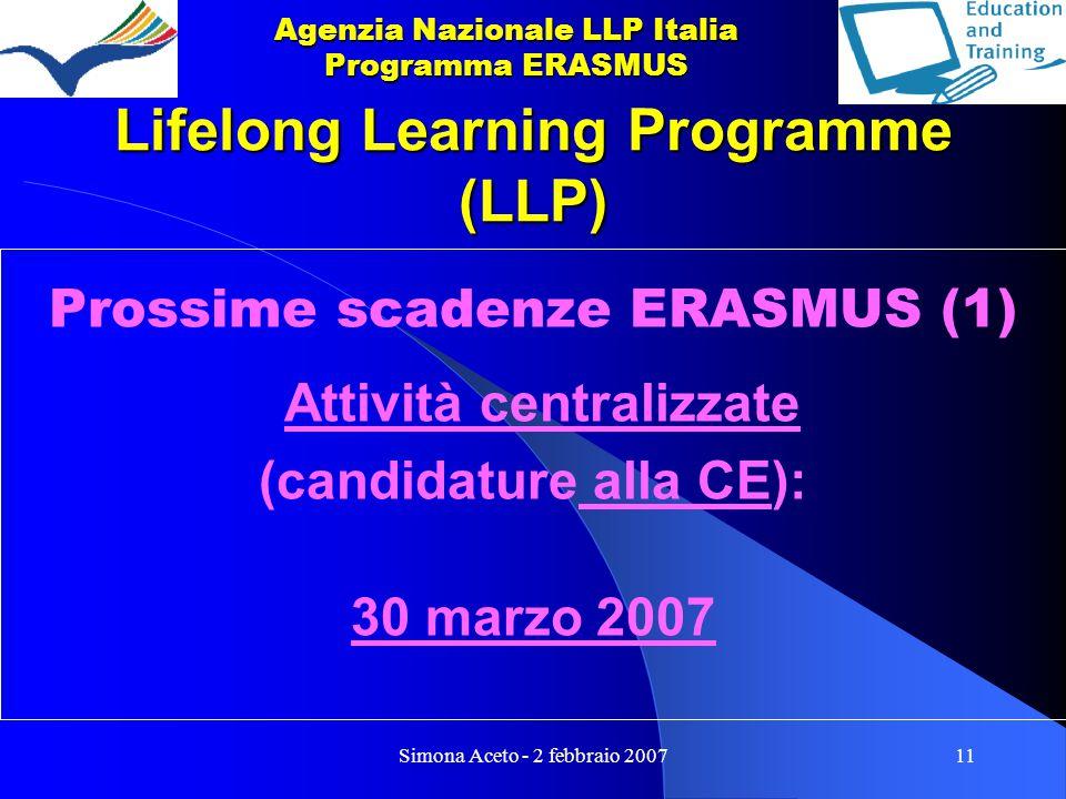 Simona Aceto - 2 febbraio 200711 Lifelong Learning Programme (LLP) Prossime scadenze ERASMUS (1) Attività centralizzate (candidature alla CE): 30 marzo 2007 Agenzia Nazionale LLP Italia Programma ERASMUS
