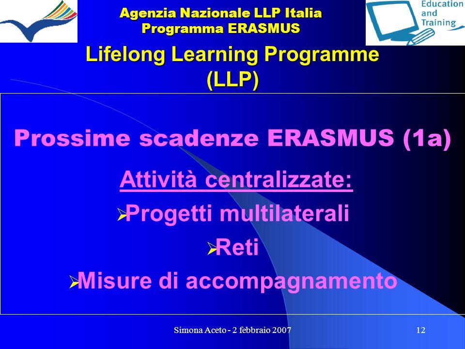 Simona Aceto - 2 febbraio 200712 Lifelong Learning Programme (LLP) Prossime scadenze ERASMUS (1a) Attività centralizzate:  Progetti multilaterali  Reti  Misure di accompagnamento Agenzia Nazionale LLP Italia Programma ERASMUS
