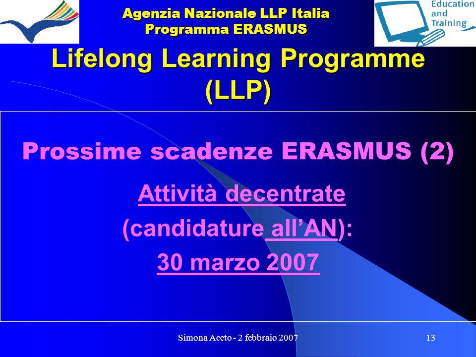 Simona Aceto - 2 febbraio 200713 Lifelong Learning Programme (LLP) Prossime scadenze ERASMUS (2) Attività decentrate (candidature all'AN): 30 marzo 2007 Agenzia Nazionale LLP Italia Programma ERASMUS