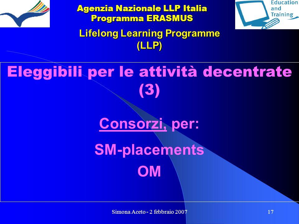Simona Aceto - 2 febbraio 200717 Lifelong Learning Programme (LLP) Eleggibili per le attività decentrate (3) Consorzi, per: SM-placements OM Agenzia Nazionale LLP Italia Programma ERASMUS