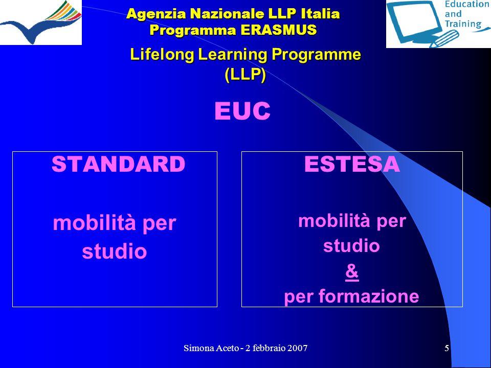Simona Aceto - 2 febbraio 20075 Lifelong Learning Programme (LLP) STANDARD mobilità per studio ESTESA mobilità per studio & per formazione Agenzia Nazionale LLP Italia Programma ERASMUS EUC