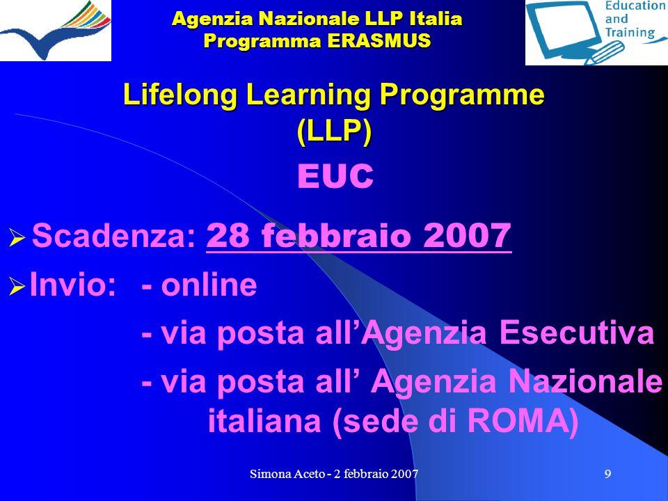 Simona Aceto - 2 febbraio 20079 Lifelong Learning Programme (LLP) EUC  Scadenza: 28 febbraio 2007  Invio:- online - via posta all'Agenzia Esecutiva - via posta all' Agenzia Nazionale italiana (sede di ROMA) Agenzia Nazionale LLP Italia Programma ERASMUS