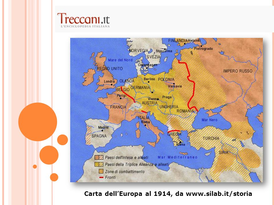 Carta dell'Europa al 1914, da www.silab.it/storia