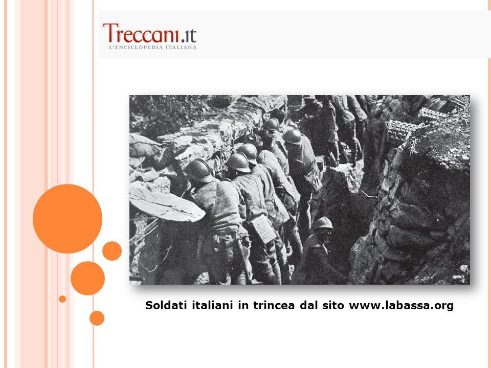 Soldati italiani in trincea dal sito www.labassa.org