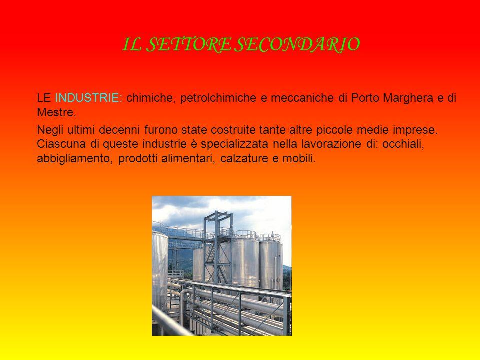 IL SETTORE SECONDARIO LE INDUSTRIE: chimiche, petrolchimiche e meccaniche di Porto Marghera e di Mestre.