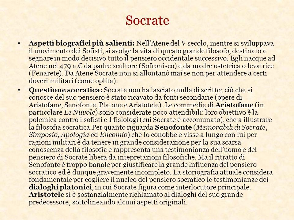 Socrate Aspetti biografici più salienti: Nell'Atene del V secolo, mentre si sviluppava il movimento dei Sofisti, si svolge la vita di questo grande filosofo, destinato a segnare in modo decisivo tutto il pensiero occidentale successivo.