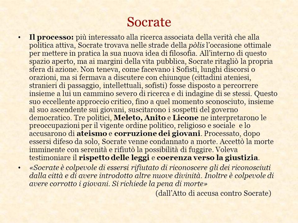 Socrate Il processo: più interessato alla ricerca associata della verità che alla politica attiva, Socrate trovava nelle strade della pòlis l'occasione ottimale per mettere in pratica la sua nuova idea di filosofia.