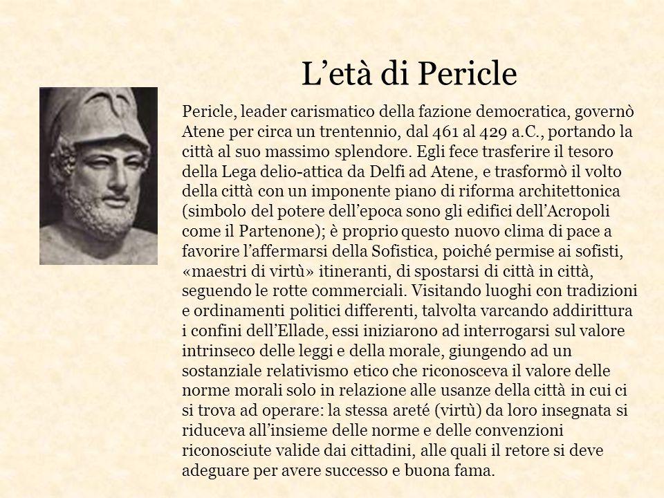 L'età di Pericle Pericle, leader carismatico della fazione democratica, governò Atene per circa un trentennio, dal 461 al 429 a.C., portando la città