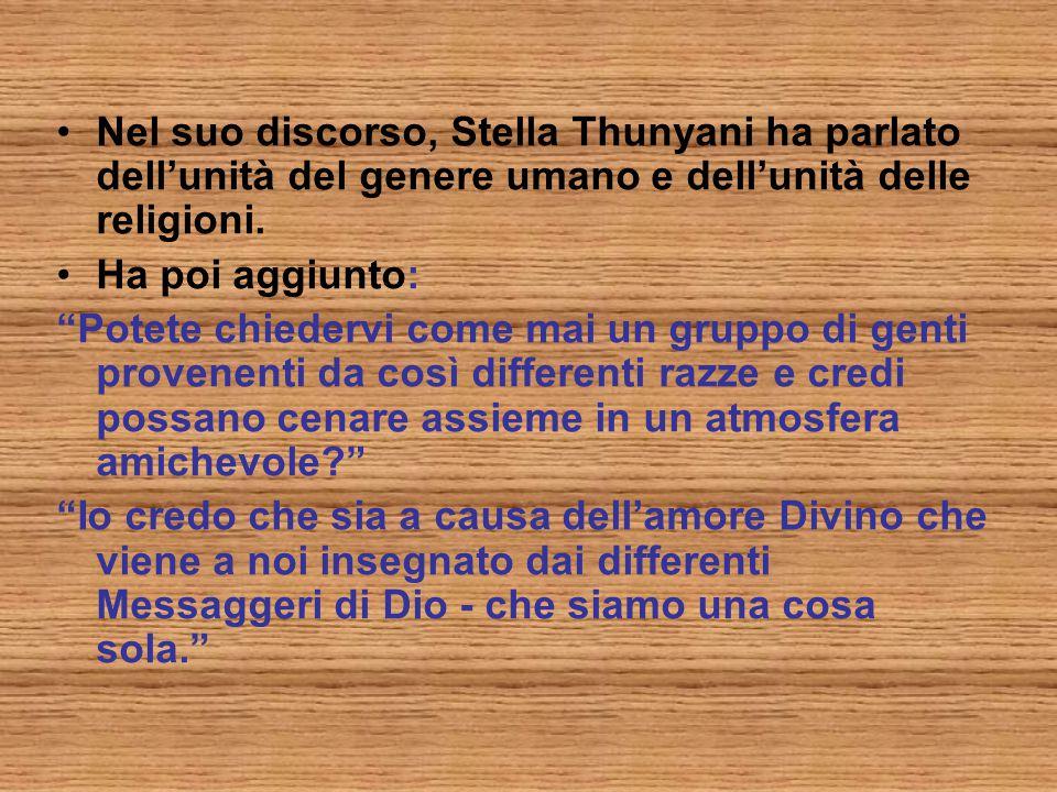Nel suo discorso, Stella Thunyani ha parlato dell'unità del genere umano e dell'unità delle religioni.