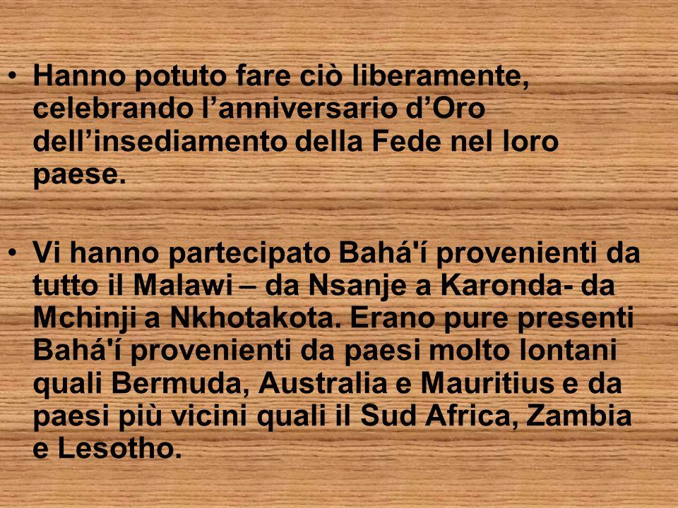 Hanno potuto fare ciò liberamente, celebrando l'anniversario d'Oro dell'insediamento della Fede nel loro paese.