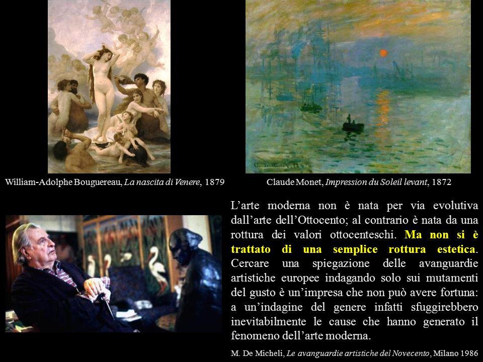 L'arte moderna non è nata per via evolutiva dall'arte dell'Ottocento; al contrario è nata da una rottura dei valori ottocenteschi.