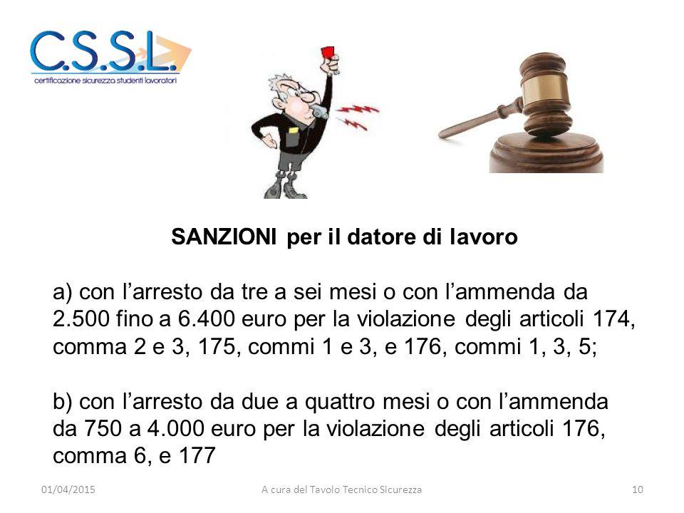 SANZIONI per il datore di lavoro a) con l'arresto da tre a sei mesi o con l'ammenda da 2.500 fino a 6.400 euro per la violazione degli articoli 174, c