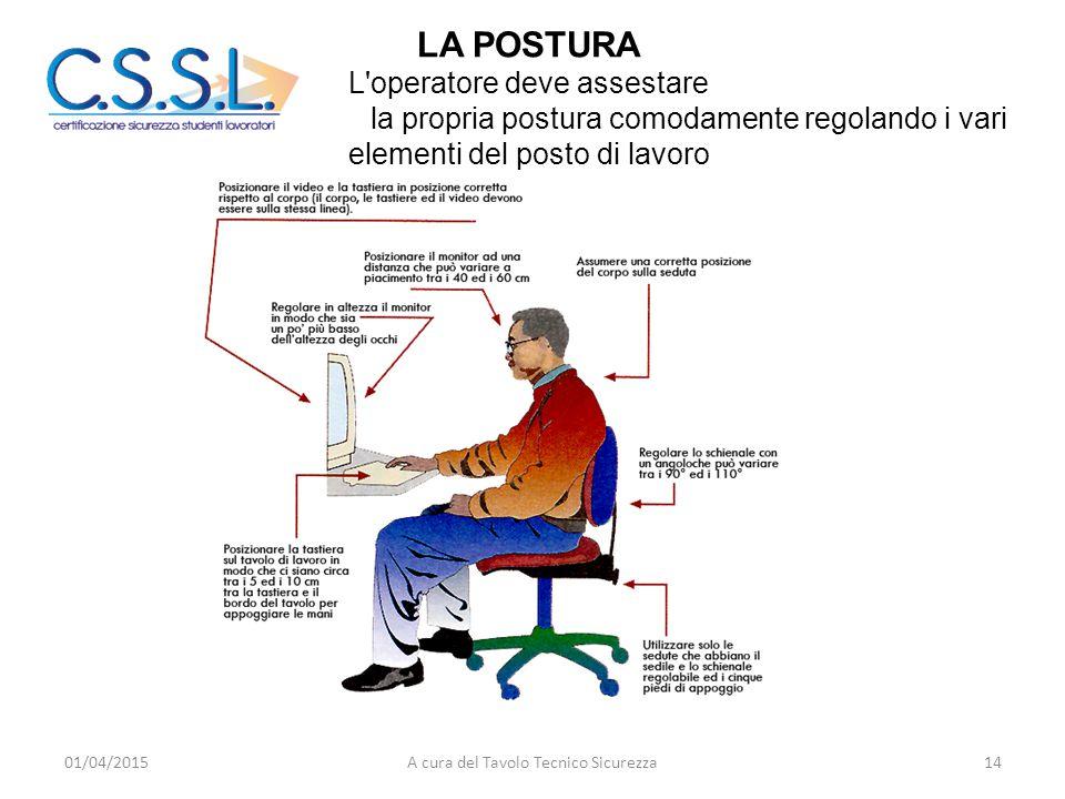 LA POSTURA L'operatore deve assestare la propria postura comodamente regolando i vari elementi del posto di lavoro 01/04/201514A cura del Tavolo Tecni