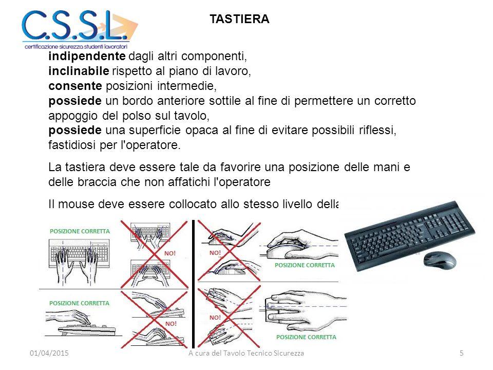 TASTIERA indipendente dagli altri componenti, inclinabile rispetto al piano di lavoro, consente posizioni intermedie, possiede un bordo anteriore sott