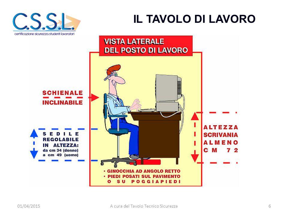 IL TAVOLO DI LAVORO 01/04/20156A cura del Tavolo Tecnico Sicurezza
