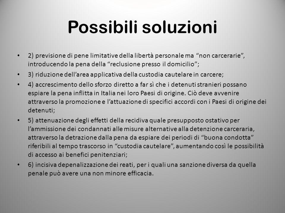 """Possibili soluzioni 2) previsione di pene limitative della libertà personale ma """"non carcerarie"""", introducendo la pena della """"reclusione presso il dom"""
