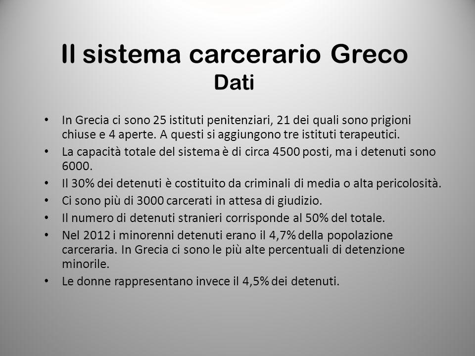 Il sistema carcerario Greco Dati In Grecia ci sono 25 istituti penitenziari, 21 dei quali sono prigioni chiuse e 4 aperte. A questi si aggiungono tre