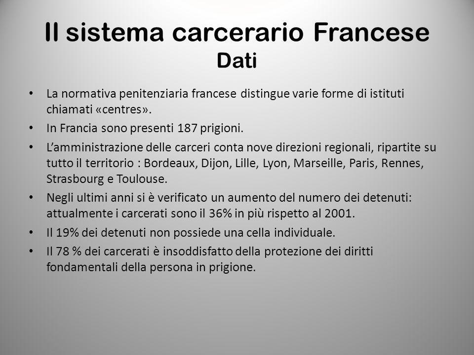 Il sistema carcerario Francese Dati La normativa penitenziaria francese distingue varie forme di istituti chiamati «centres». In Francia sono presenti