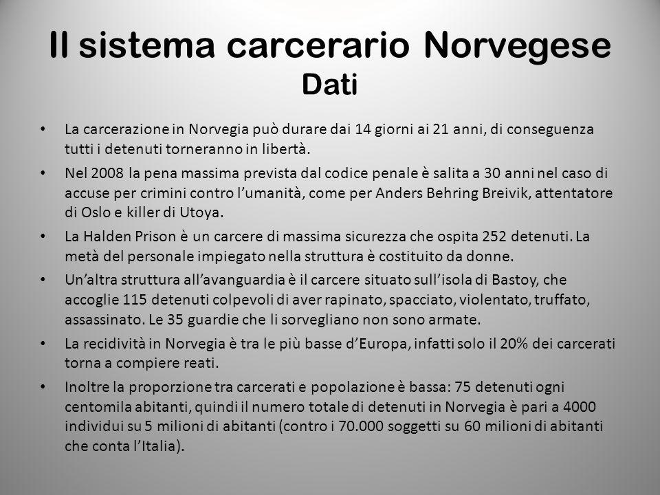 Il sistema carcerario Norvegese Dati La carcerazione in Norvegia può durare dai 14 giorni ai 21 anni, di conseguenza tutti i detenuti torneranno in li
