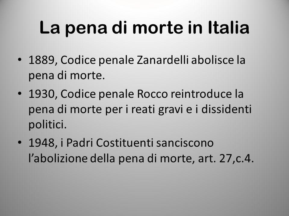 La pena di morte in Italia 1889, Codice penale Zanardelli abolisce la pena di morte. 1930, Codice penale Rocco reintroduce la pena di morte per i reat