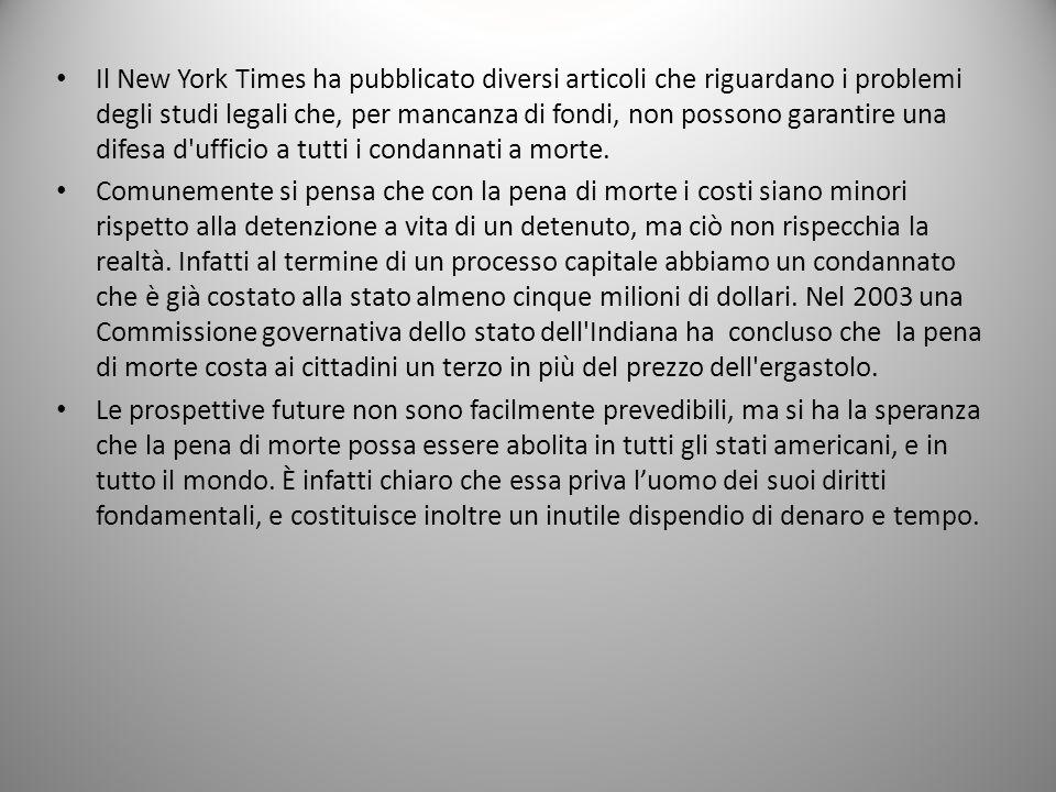 Il New York Times ha pubblicato diversi articoli che riguardano i problemi degli studi legali che, per mancanza di fondi, non possono garantire una di