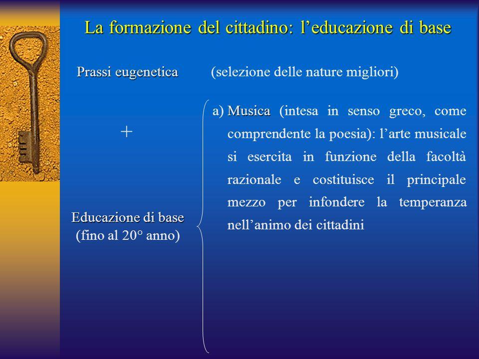 La formazione del cittadino: l'educazione di base Prassi eugenetica Prassi eugenetica (selezione delle nature migliori) Musica a)Musica (intesa in senso greco, come comprendente la poesia): l'arte musicale si esercita in funzione della facoltà razionale e costituisce il principale mezzo per infondere la temperanza nell'animo dei cittadini + Educazione di base (fino al 20° anno)
