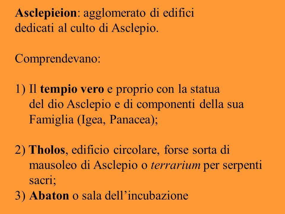Asclepieion: agglomerato di edifici dedicati al culto di Asclepio. Comprendevano: 1)Il tempio vero e proprio con la statua del dio Asclepio e di compo