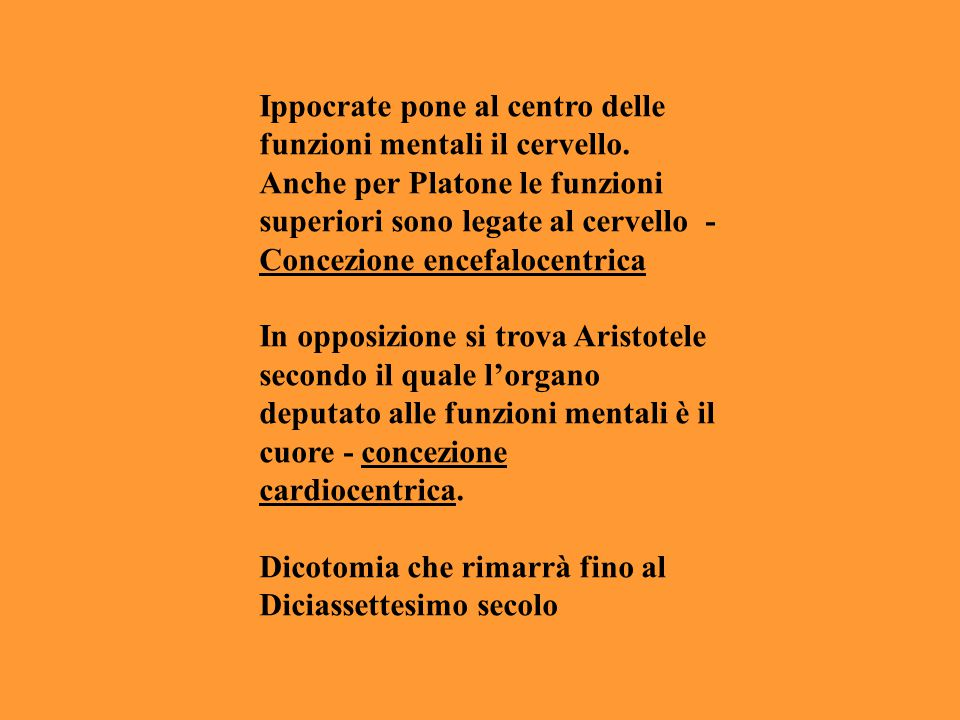 Ippocrate pone al centro delle funzioni mentali il cervello. Anche per Platone le funzioni superiori sono legate al cervello - Concezione encefalocent